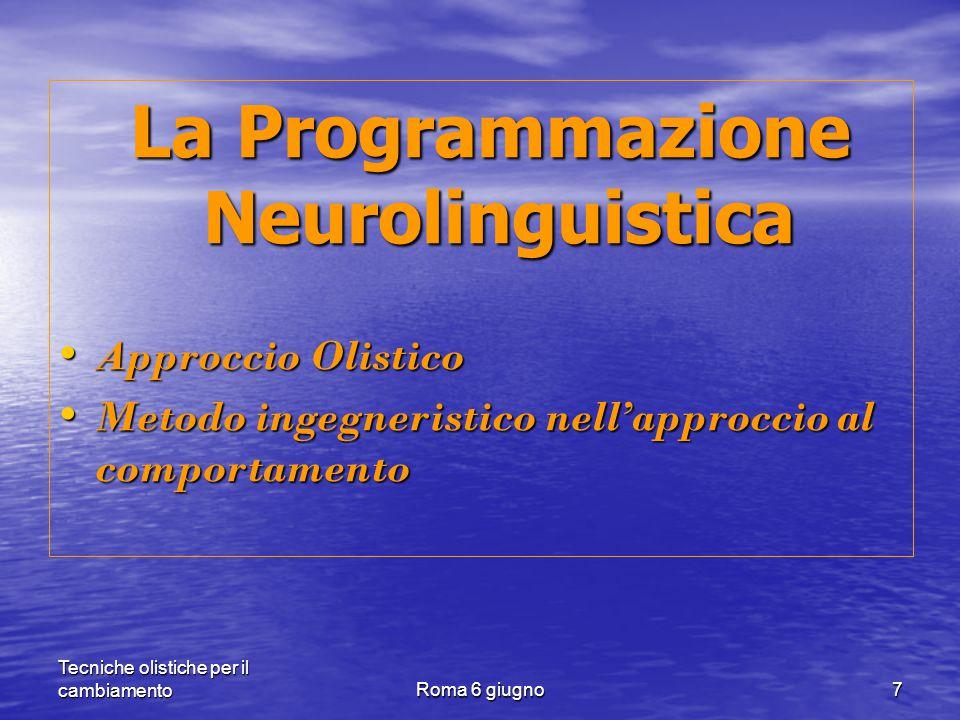 Tecniche olistiche per il cambiamentoRoma 6 giugno7 La Programmazione Neurolinguistica La Programmazione Neurolinguistica Approccio Olistico Approccio Olistico Metodo ingegneristico nell'approccio al comportamento Metodo ingegneristico nell'approccio al comportamento