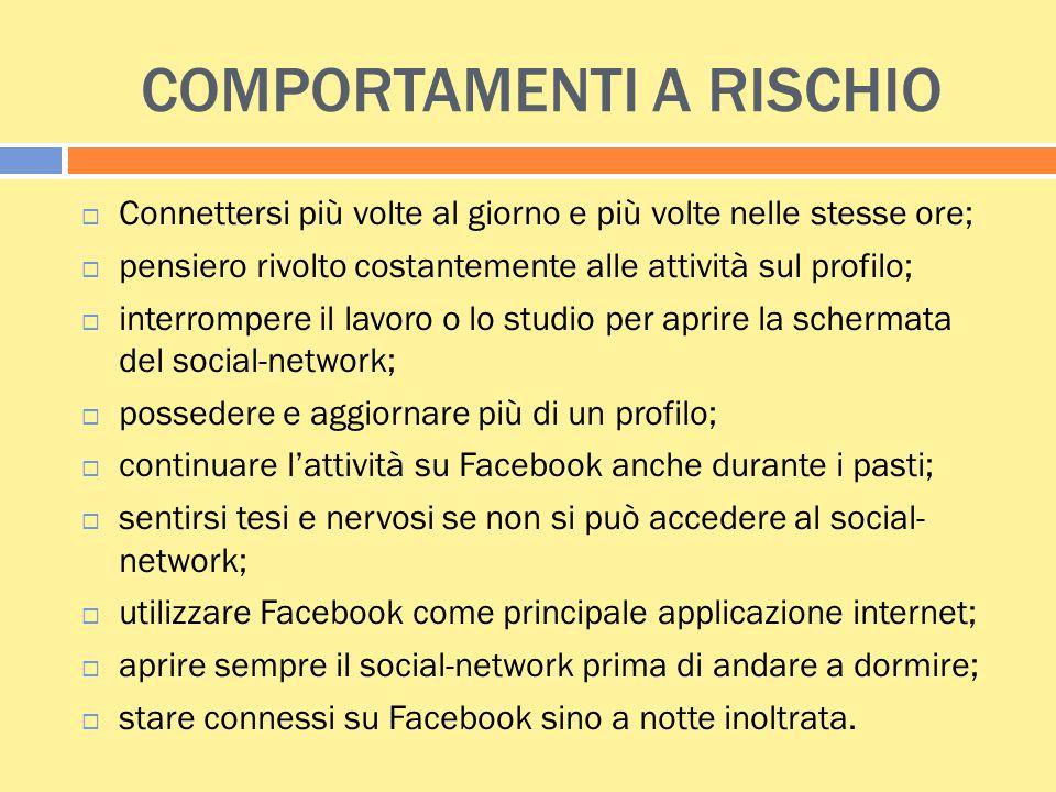 COMPORTAMENTI A RISCHIO  Connettersi più volte al giorno e più volte nelle stesse ore;  pensiero rivolto costantemente alle attività sul profilo; 