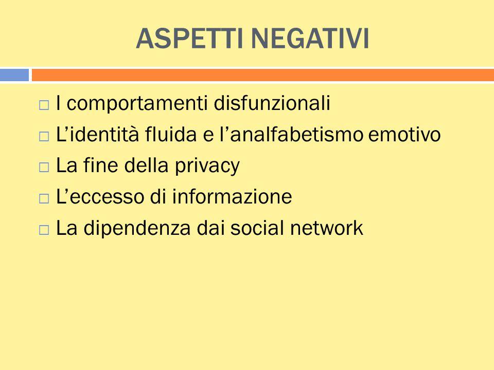 ASPETTI NEGATIVI  I comportamenti disfunzionali  L'identità fluida e l'analfabetismo emotivo  La fine della privacy  L'eccesso di informazione  L
