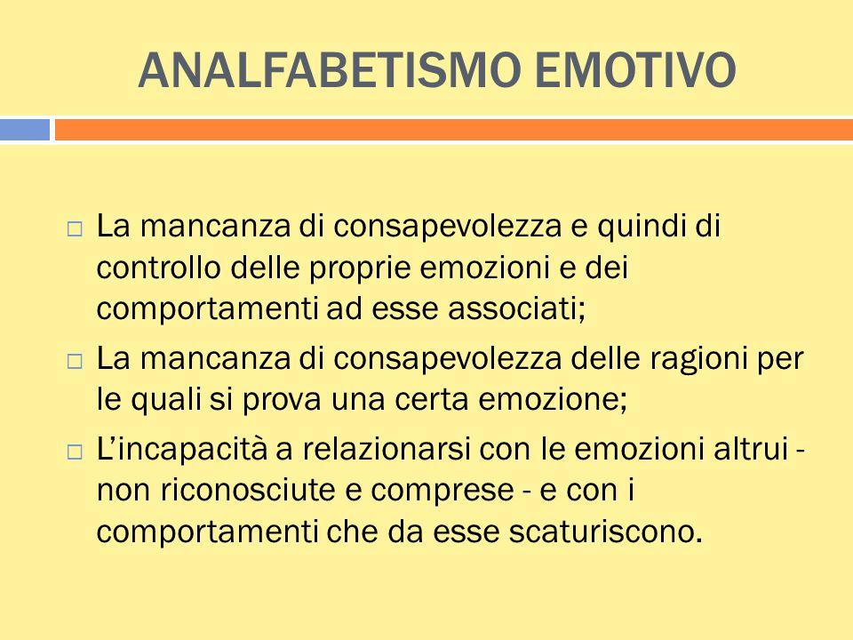 ANALFABETISMO EMOTIVO  La mancanza di consapevolezza e quindi di controllo delle proprie emozioni e dei comportamenti ad esse associati;  La mancanz