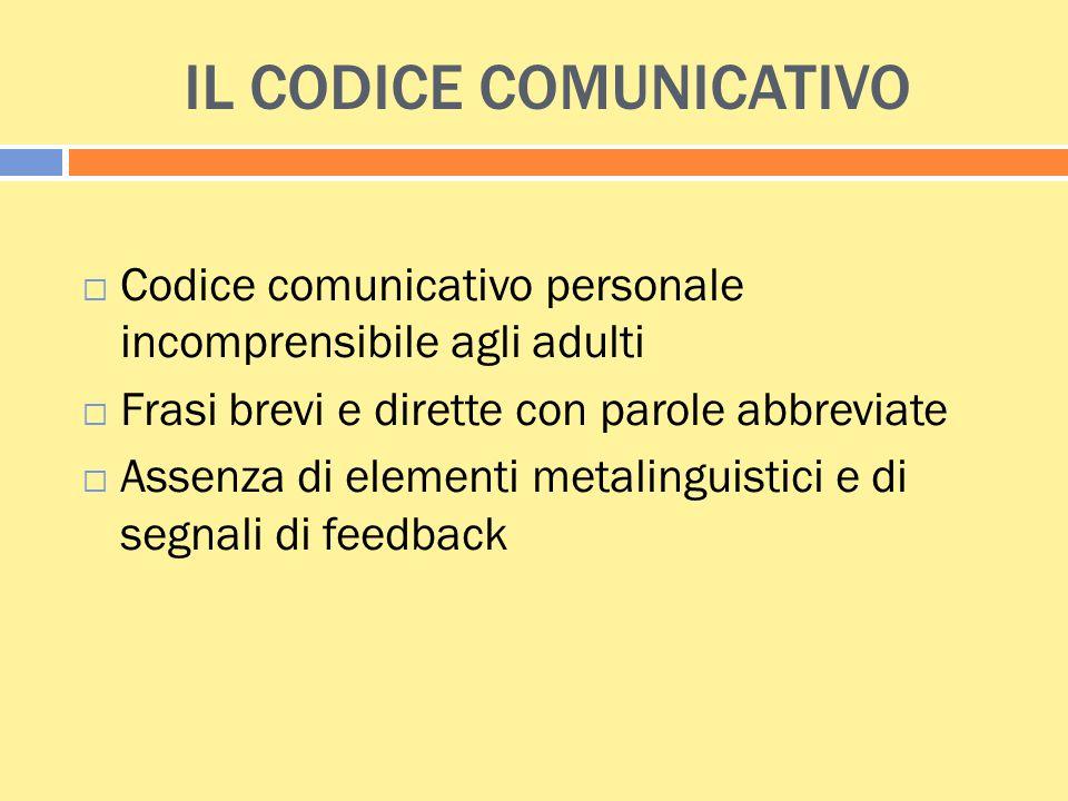 IL CODICE COMUNICATIVO  Codice comunicativo personale incomprensibile agli adulti  Frasi brevi e dirette con parole abbreviate  Assenza di elementi