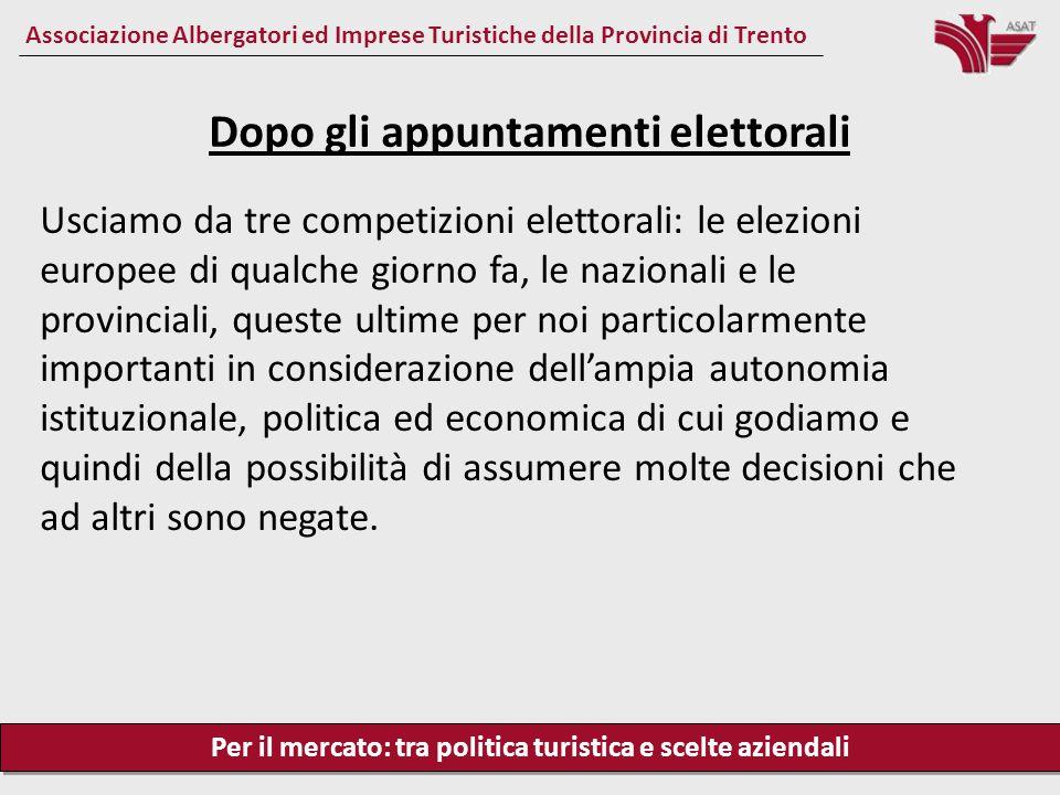 Per il mercato: tra politica turistica e scelte aziendali Associazione Albergatori ed Imprese Turistiche della Provincia di Trento Usciamo da tre comp