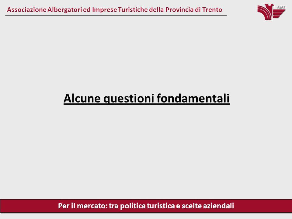 Per il mercato: tra politica turistica e scelte aziendali Associazione Albergatori ed Imprese Turistiche della Provincia di Trento Alcune questioni fondamentali
