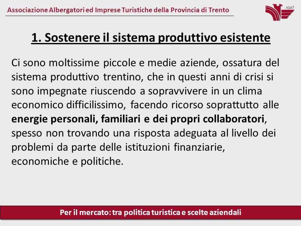 Per il mercato: tra politica turistica e scelte aziendali Associazione Albergatori ed Imprese Turistiche della Provincia di Trento Ci sono moltissime