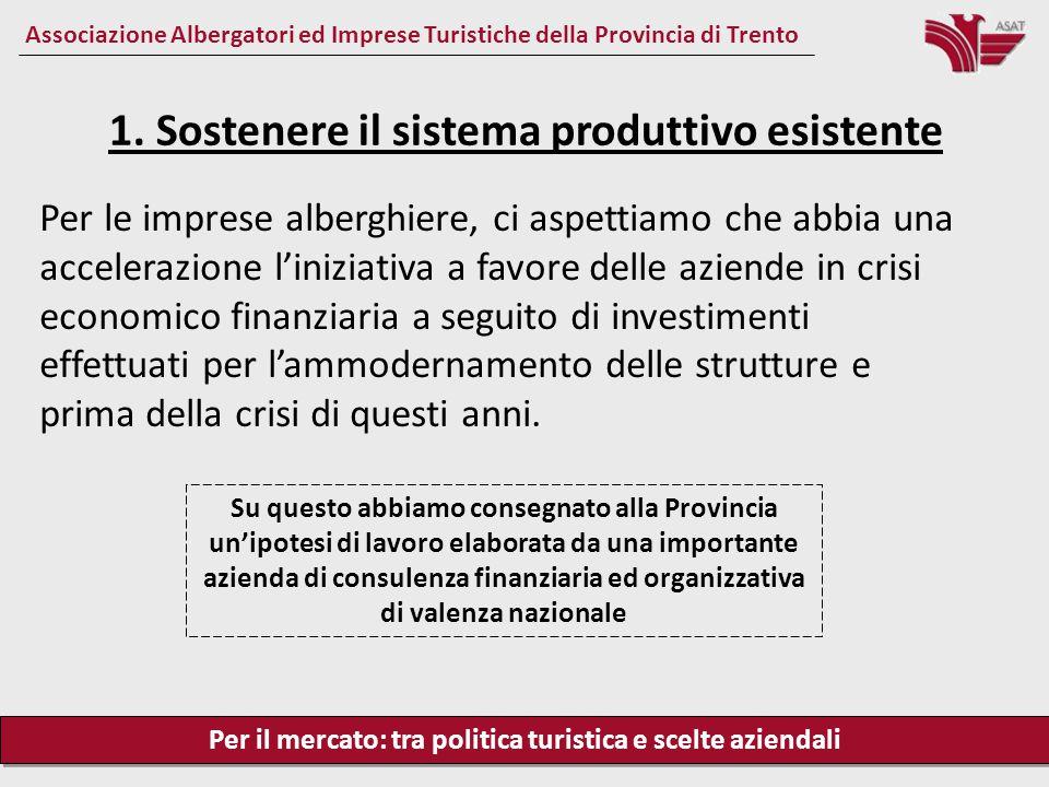 Per il mercato: tra politica turistica e scelte aziendali Associazione Albergatori ed Imprese Turistiche della Provincia di Trento Per le imprese albe