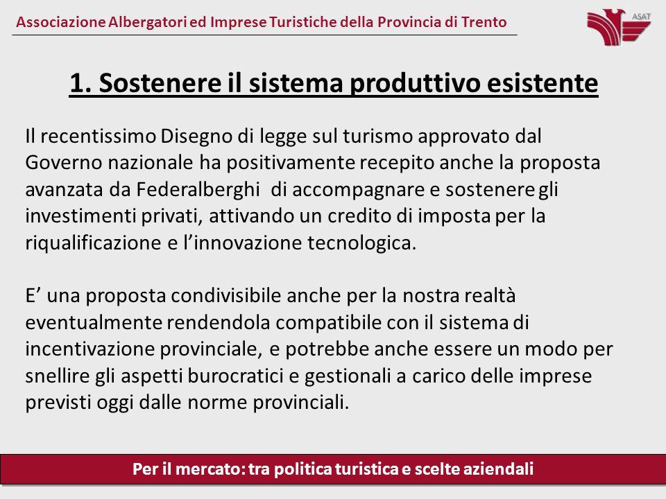 Per il mercato: tra politica turistica e scelte aziendali Associazione Albergatori ed Imprese Turistiche della Provincia di Trento Il recentissimo Dis
