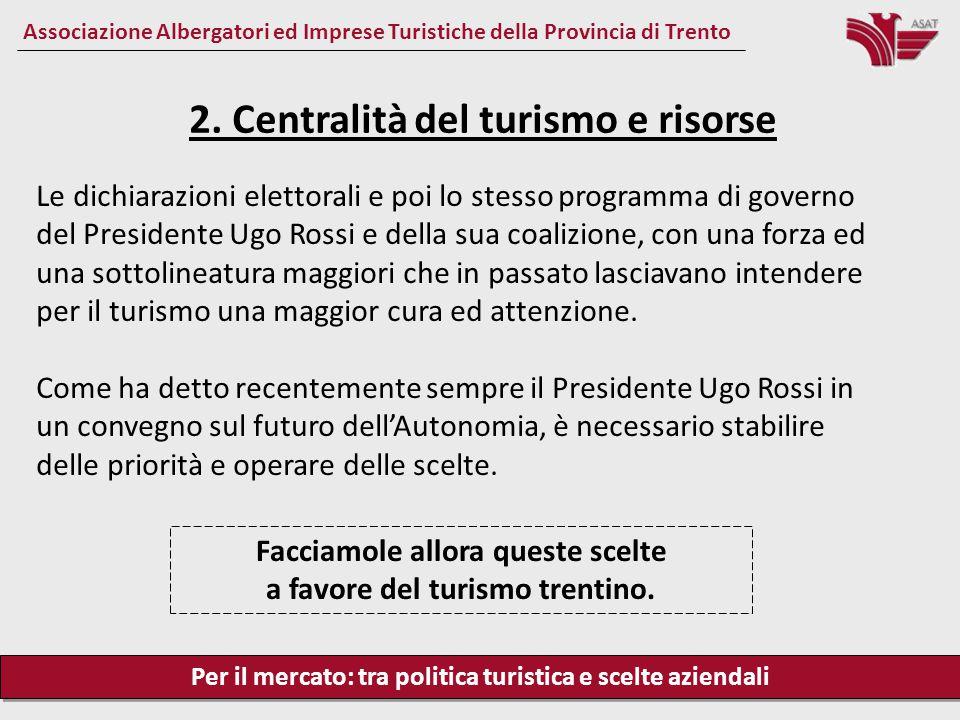 Per il mercato: tra politica turistica e scelte aziendali Associazione Albergatori ed Imprese Turistiche della Provincia di Trento Le dichiarazioni el