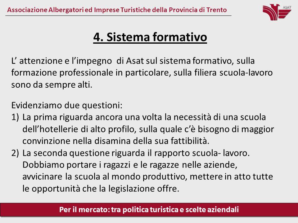 Per il mercato: tra politica turistica e scelte aziendali Associazione Albergatori ed Imprese Turistiche della Provincia di Trento L' attenzione e l'i
