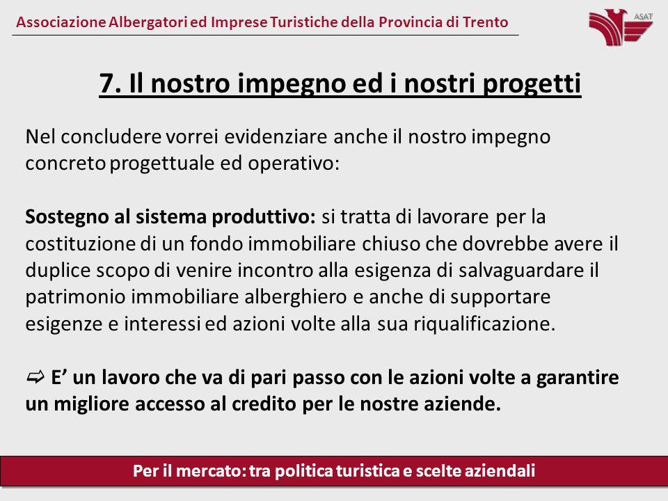 Per il mercato: tra politica turistica e scelte aziendali Associazione Albergatori ed Imprese Turistiche della Provincia di Trento Nel concludere vorr