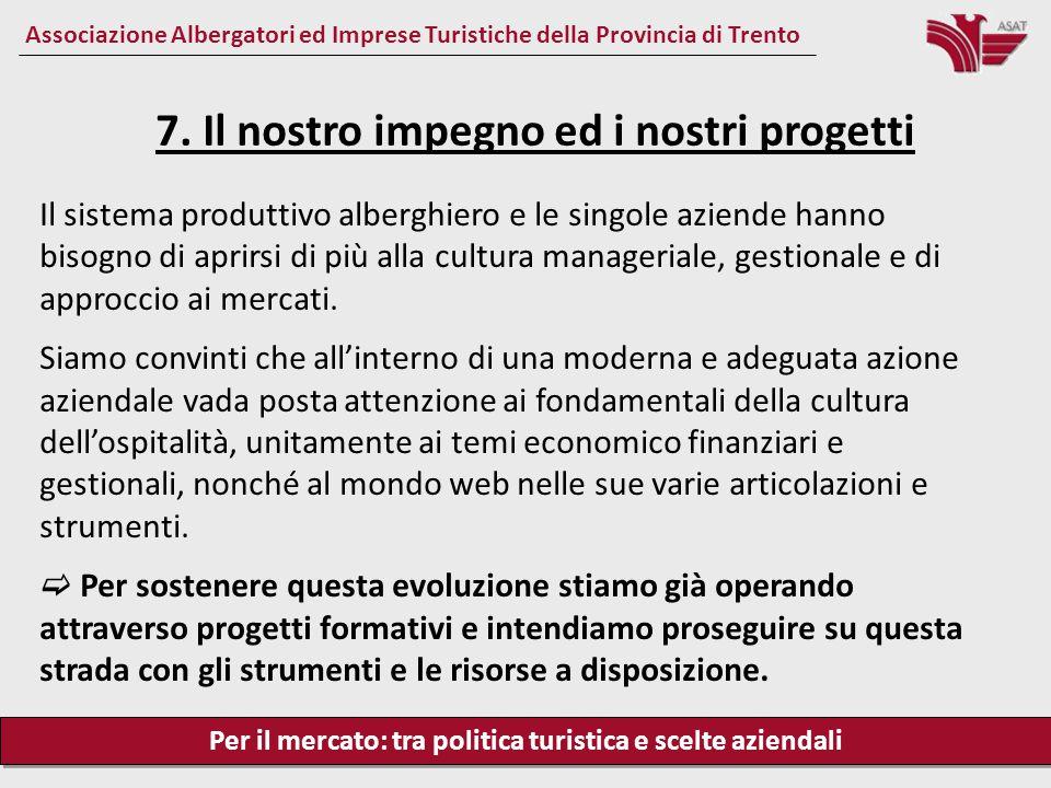 Per il mercato: tra politica turistica e scelte aziendali Associazione Albergatori ed Imprese Turistiche della Provincia di Trento Il sistema produtti