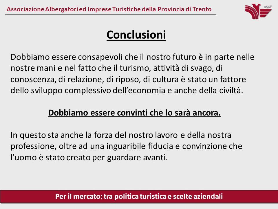Per il mercato: tra politica turistica e scelte aziendali Associazione Albergatori ed Imprese Turistiche della Provincia di Trento Dobbiamo essere con