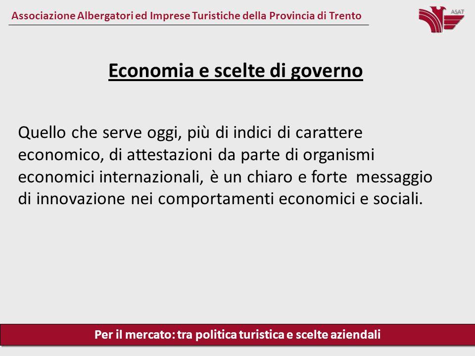 Per il mercato: tra politica turistica e scelte aziendali Associazione Albergatori ed Imprese Turistiche della Provincia di Trento Quello che serve og