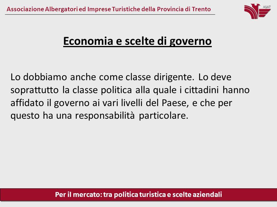 Per il mercato: tra politica turistica e scelte aziendali Associazione Albergatori ed Imprese Turistiche della Provincia di Trento Lo dobbiamo anche come classe dirigente.