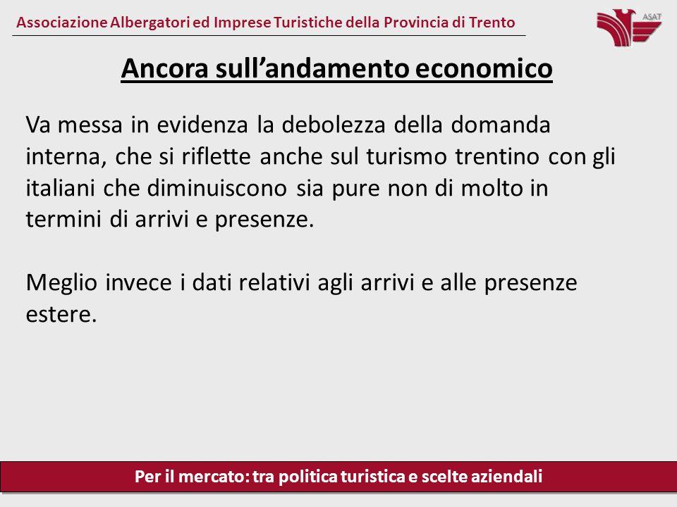 Per il mercato: tra politica turistica e scelte aziendali Associazione Albergatori ed Imprese Turistiche della Provincia di Trento Va messa in evidenz