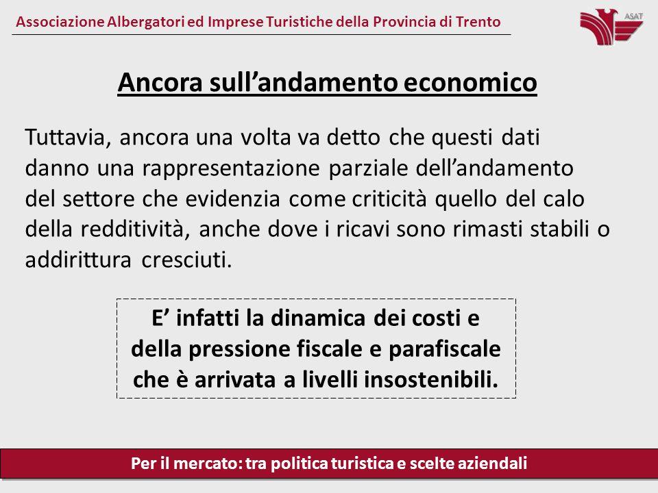 Per il mercato: tra politica turistica e scelte aziendali Associazione Albergatori ed Imprese Turistiche della Provincia di Trento Tuttavia, ancora un