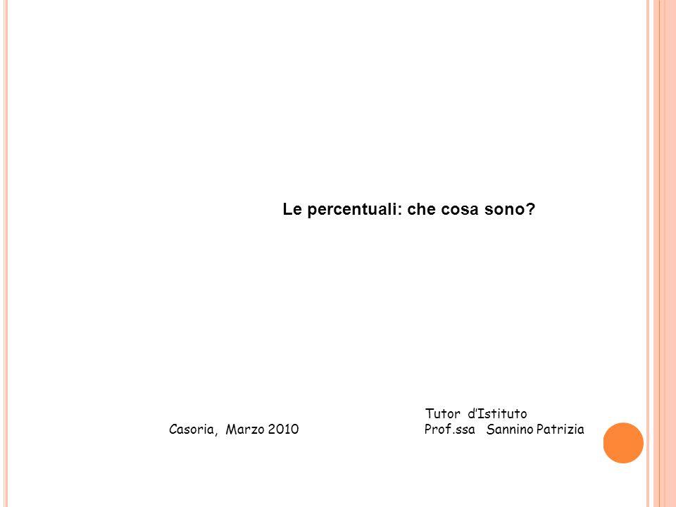 Casoria, Marzo 2010 Tutor d'Istituto Prof.ssa Sannino Patrizia Le percentuali: che cosa sono?