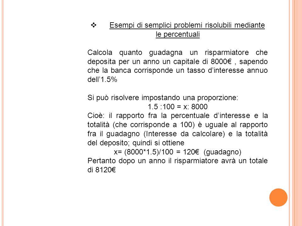  Esempi di semplici problemi risolubili mediante le percentuali Calcola quanto guadagna un risparmiatore che deposita per un anno un capitale di 8000€, sapendo che la banca corrisponde un tasso d'interesse annuo dell'1.5% Si può risolvere impostando una proporzione: 1.5 :100 = x: 8000 Cioè: il rapporto fra la percentuale d'interesse e la totalità (che corrisponde a 100) è uguale al rapporto fra il guadagno (Interesse da calcolare) e la totalità del deposito; quindi si ottiene x= (8000*1.5)/100 = 120€ (guadagno) Pertanto dopo un anno il risparmiatore avrà un totale di 8120€