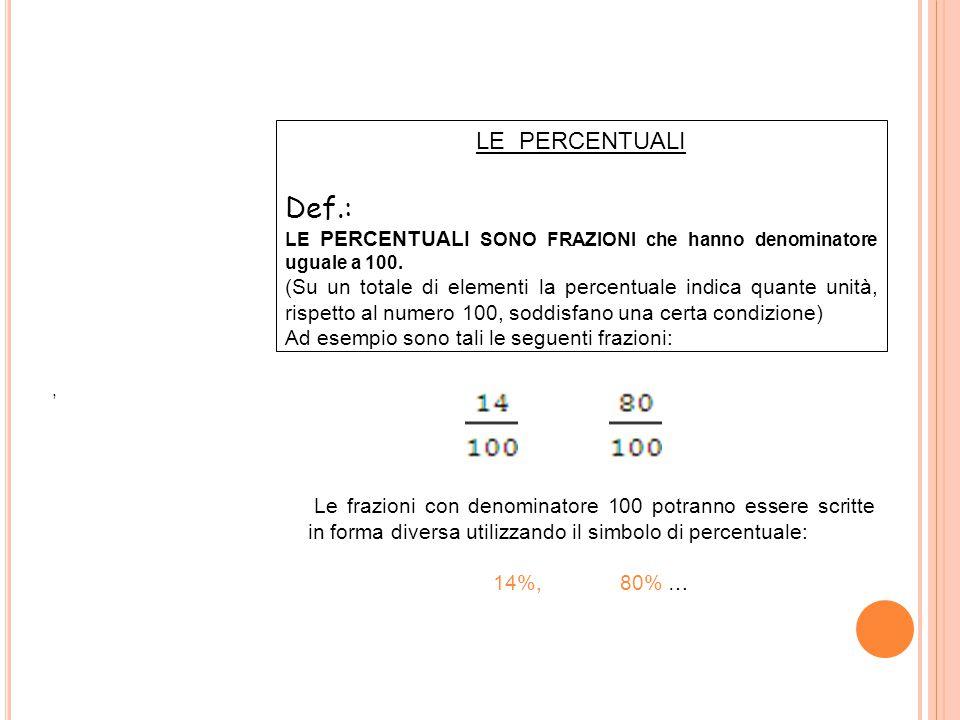 LE PERCENTUALI Def.: LE PERCENTUALI SONO FRAZIONI che hanno denominatore uguale a 100. (Su un totale di elementi la percentuale indica quante unità, r