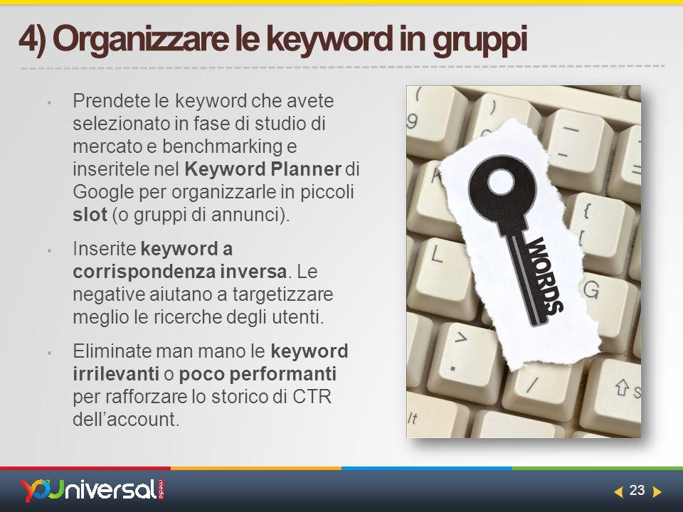 23 4) Organizzare le keyword in gruppi Prendete le keyword che avete selezionato in fase di studio di mercato e benchmarking e inseritele nel Keyword Planner di Google per organizzarle in piccoli slot (o gruppi di annunci).