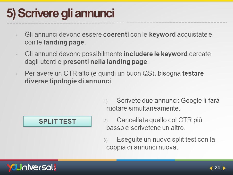 24 5) Scrivere gli annunci Gli annunci devono essere coerenti con le keyword acquistate e con le landing page.