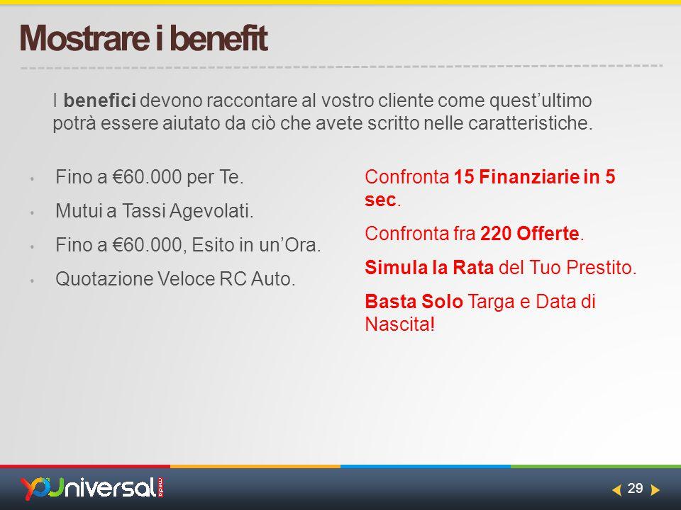 29 Mostrare i benefit Fino a €60.000 per Te. Mutui a Tassi Agevolati.