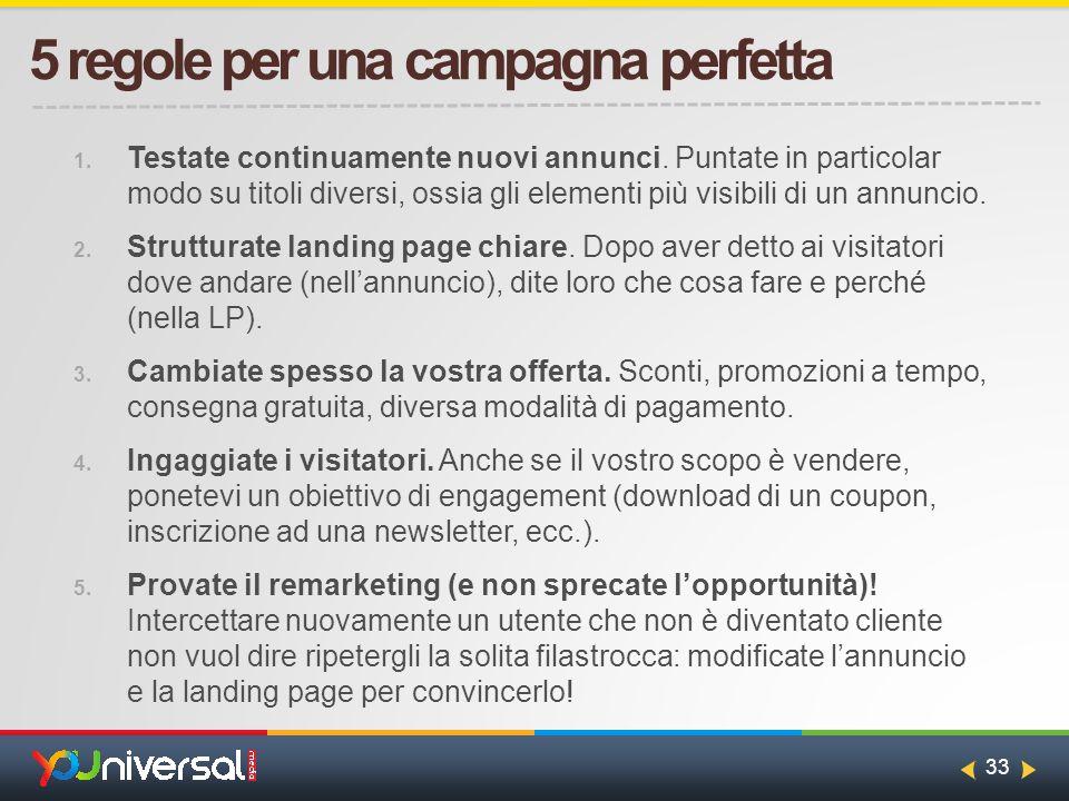33 5 regole per una campagna perfetta 1. Testate continuamente nuovi annunci.