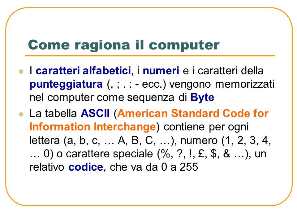 Come ragiona il computer I computer utilizzano uno standard di bit per ogni informazione: 8 bit Si ottengono 256 stati diversi L'insieme di 8 bit si c