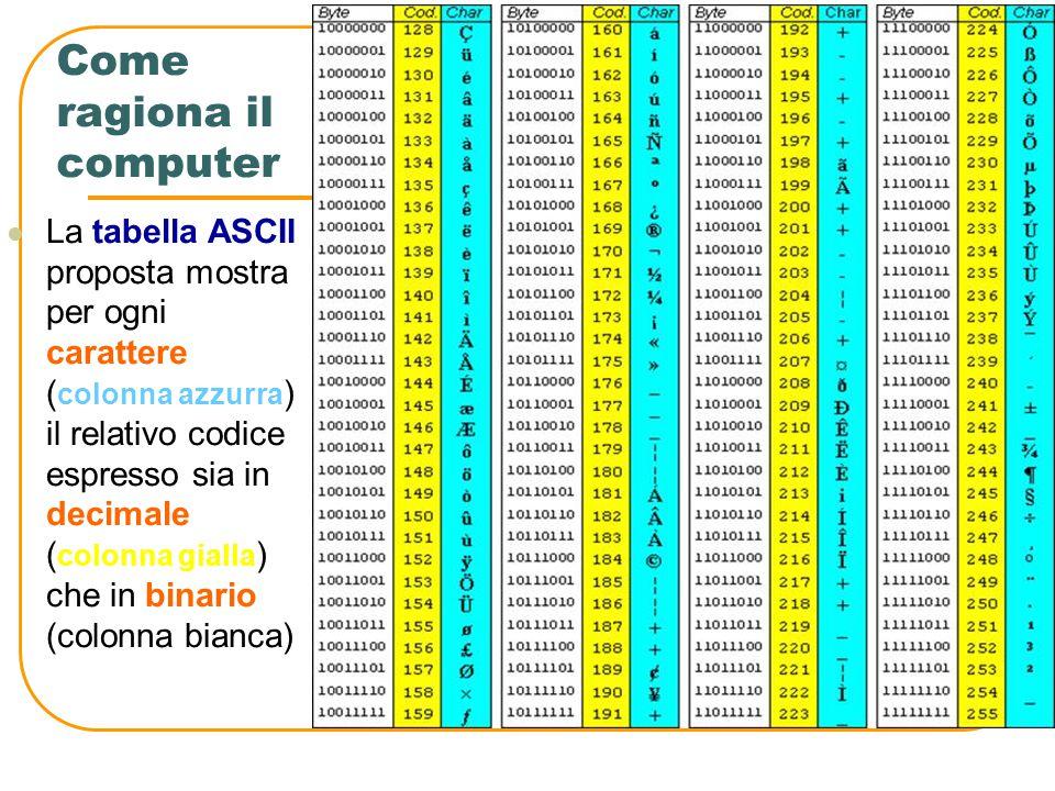 Come ragiona il computer I caratteri alfabetici, i numeri e i caratteri della punteggiatura (, ;. : - ecc.) vengono memorizzati nel computer come sequ