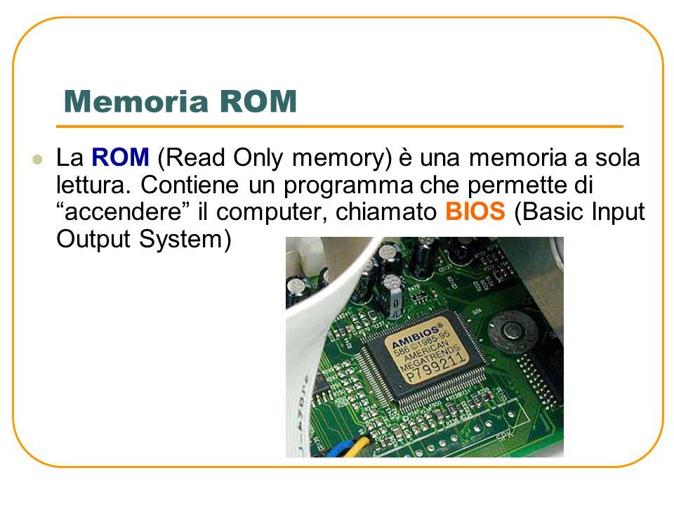 Memoria RAM La RAM (Random Access Memory) è la memoria che contiene i dati e i programmi in corso di esecuzione E' di tipo volatile, significa che per