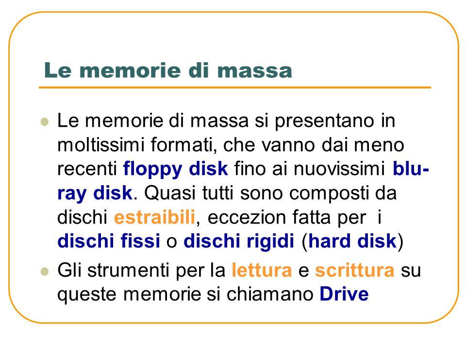 Le memorie di massa Le memorie di massa hanno lo scopo di conservare i programmi e i dati in modo permanente Le memorie di massa più diffuse sono coll