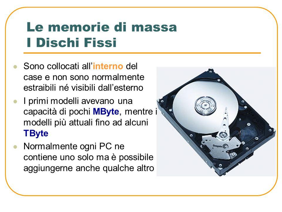 Le memorie di massa Le memorie di massa si presentano in moltissimi formati, che vanno dai meno recenti floppy disk fino ai nuovissimi blu- ray disk.