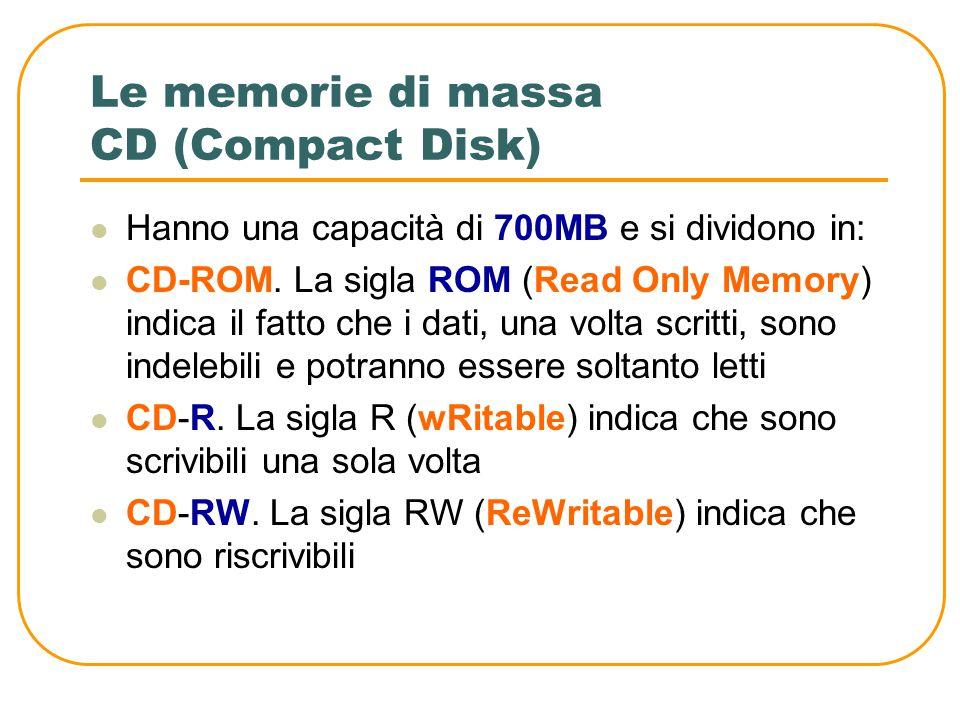 Le memorie di massa DVD (Digital Versatile Disk) Vengono usati soprattutto per memorizzare film in formato digitale ma possono contenere anche i norma
