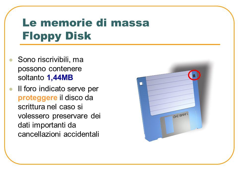 Le memorie di massa CD (Compact Disk) Hanno una capacità di 700MB e si dividono in: CD-ROM. La sigla ROM (Read Only Memory) indica il fatto che i dati