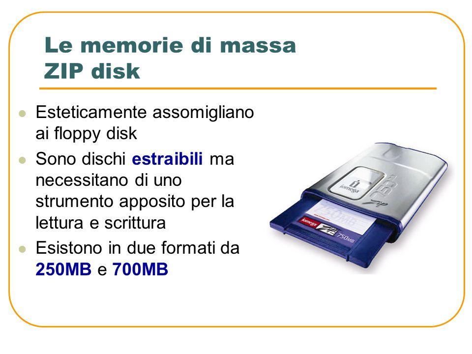 Le memorie di massa Floppy Disk Sono riscrivibili, ma possono contenere soltanto 1,44MB Il foro indicato serve per proteggere il disco da scrittura ne