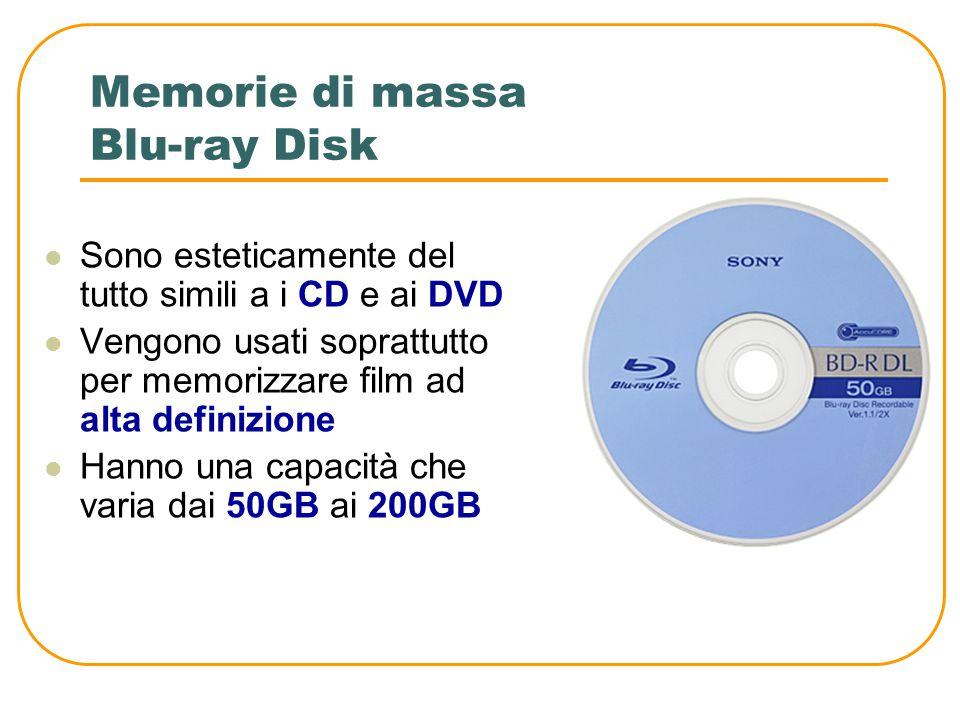 Le memorie di massa ZIP disk Esteticamente assomigliano ai floppy disk Sono dischi estraibili ma necessitano di uno strumento apposito per la lettura