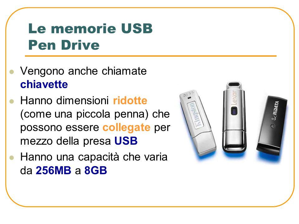 Le memorie USB Rappresentano una tipologie di memorie estraibili collegate con la porta USB del computer Le principali sono le seguenti: Pen Drive Har