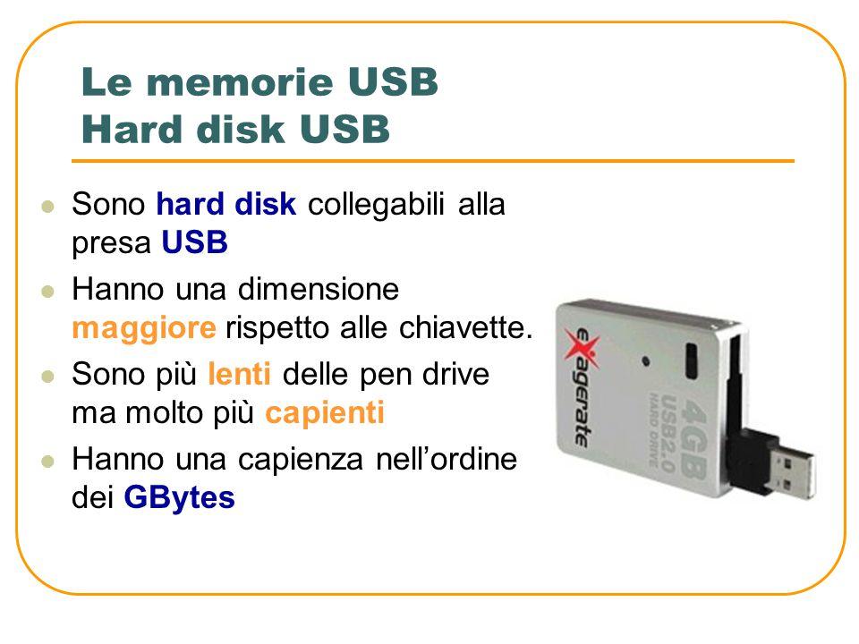 Le memorie USB Pen Drive Vengono anche chiamate chiavette Hanno dimensioni ridotte (come una piccola penna) che possono essere collegate per mezzo del