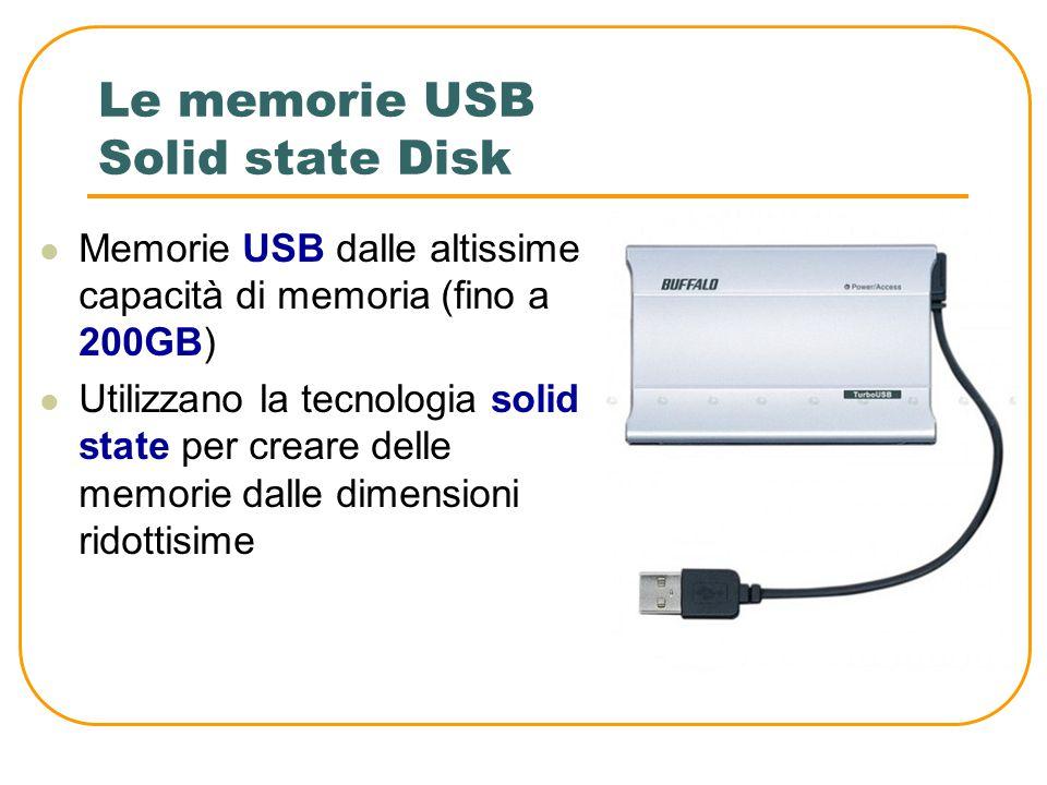 Le memorie USB Hard disk USB Sono hard disk collegabili alla presa USB Hanno una dimensione maggiore rispetto alle chiavette. Sono più lenti delle pen
