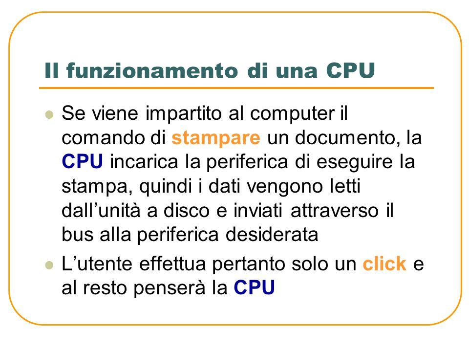 Il funzionamento di una CPU Il computer funziona grazie ad un programma La CPU durante il suo funzionamento, non fa altro che eseguire le istruzioni d