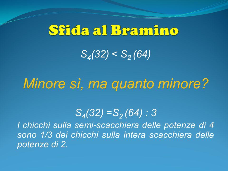 S 4 (32) < S 2 (64) Minore sì, ma quanto minore? S 4 (32) =S 2 (64) : 3 I chicchi sulla semi-scacchiera delle potenze di 4 sono 1/3 dei chicchi sulla