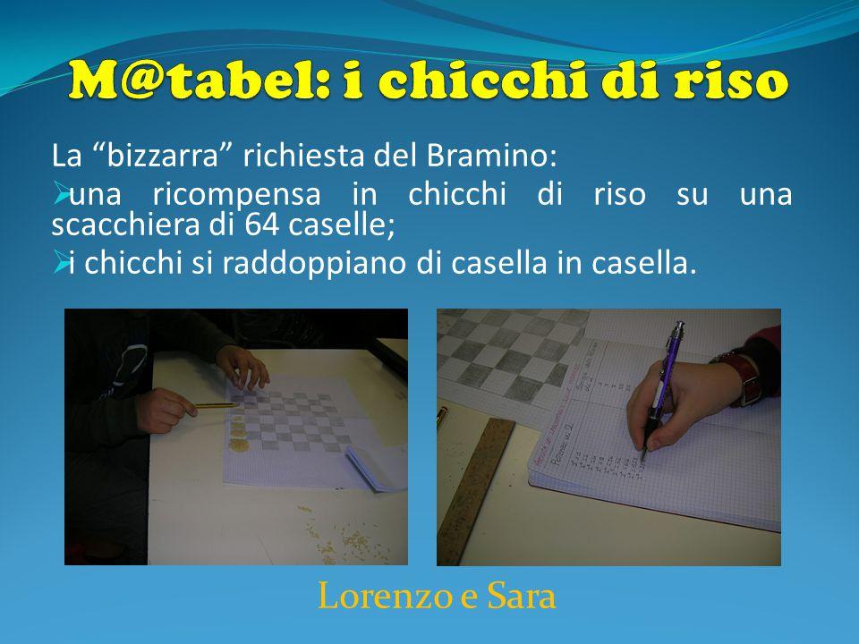 Lorenzo e Sara La bizzarra richiesta del Bramino:  una ricompensa in chicchi di riso su una scacchiera di 64 caselle;  i chicchi si raddoppiano di casella in casella.