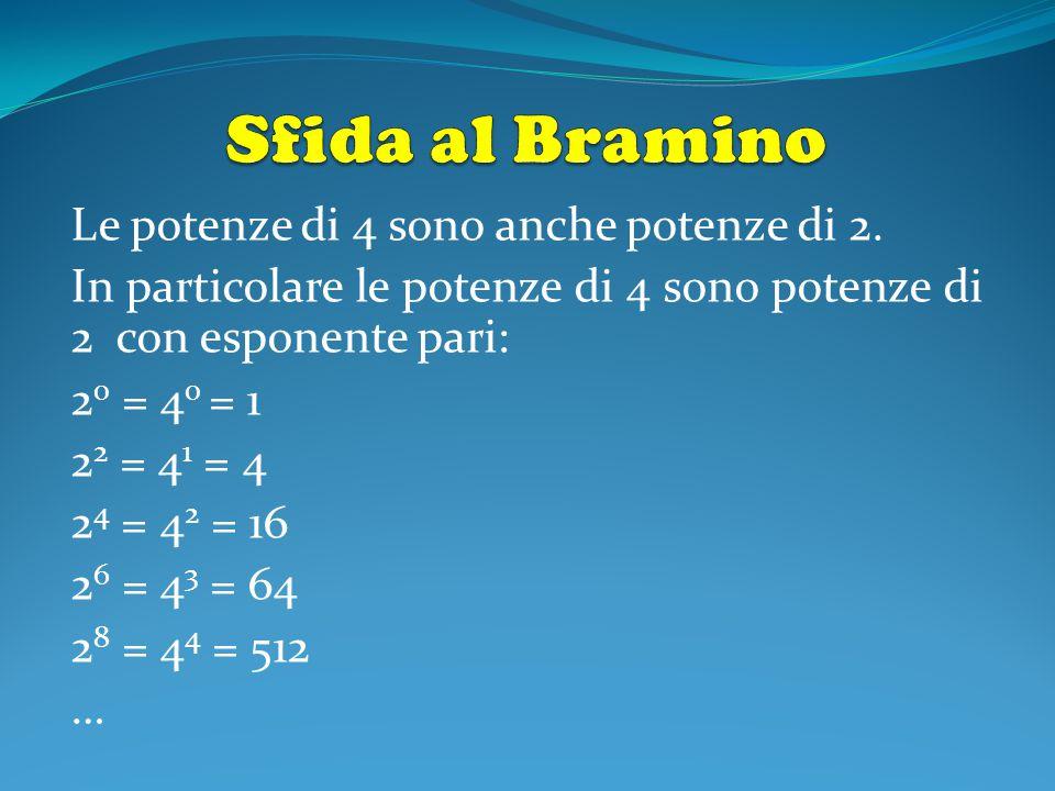 Le potenze di 4 sono anche potenze di 2. In particolare le potenze di 4 sono potenze di 2 con esponente pari: 2 0 = 4 0 = 1 2 2 = 4 1 = 4 2 4 = 4 2 =