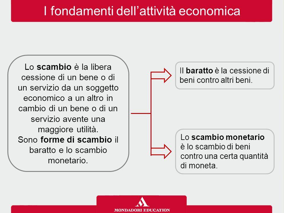 I fondamenti dell'attività economica Lo scambio è la libera cessione di un bene o di un servizio da un soggetto economico a un altro in cambio di un b