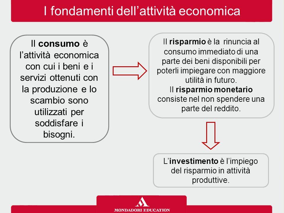 I fondamenti dell'attività economica Il consumo è l'attività economica con cui i beni e i servizi ottenuti con la produzione e lo scambio sono utilizz