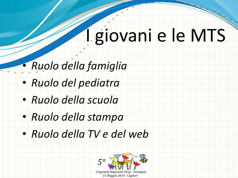 Ruolo della famiglia Ruolo del pediatra Ruolo della scuola Ruolo della stampa Ruolo della TV e del web I giovani e le MTS