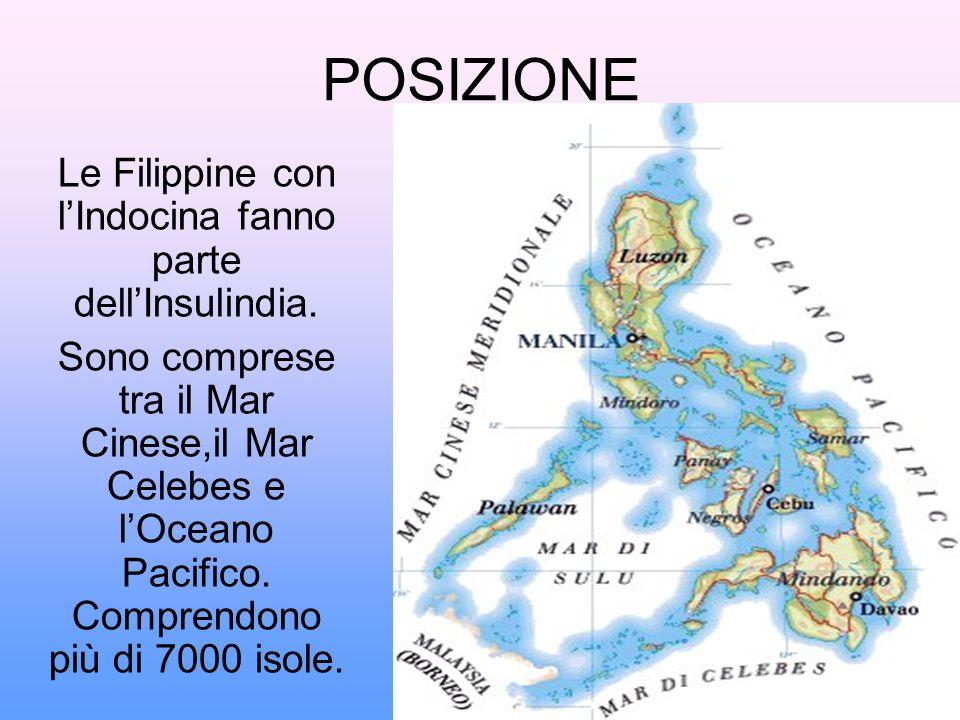 POSIZIONE Le Filippine con l'Indocina fanno parte dell'Insulindia. Sono comprese tra il Mar Cinese,il Mar Celebes e l'Oceano Pacifico. Comprendono più