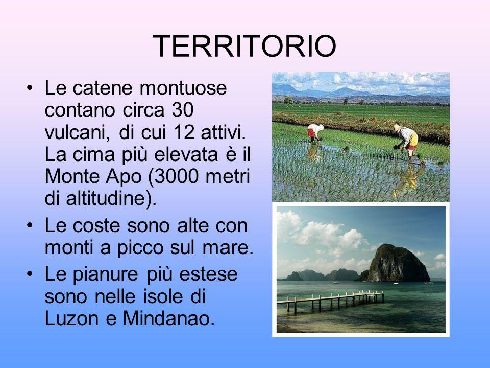TERRITORIO Le catene montuose contano circa 30 vulcani, di cui 12 attivi. La cima più elevata è il Monte Apo (3000 metri di altitudine). Le coste sono