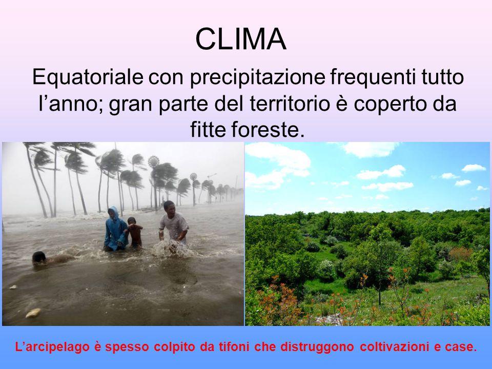 CLIMA Equatoriale con precipitazione frequenti tutto l'anno; gran parte del territorio è coperto da fitte foreste. L'arcipelago è spesso colpito da ti