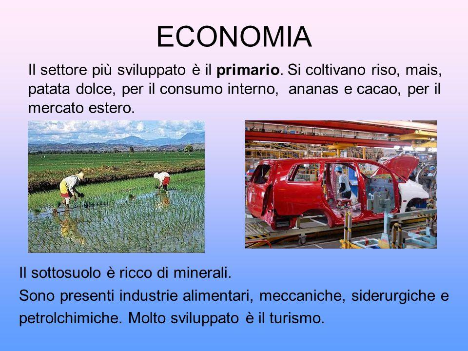 ECONOMIA Il settore più sviluppato è il primario. Si coltivano riso, mais, patata dolce, per il consumo interno, ananas e cacao, per il mercato estero