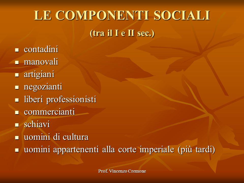 Prof. Vincenzo Cremone LE COMPONENTI SOCIALI (tra il I e II sec.) contadini contadini manovali manovali artigiani artigiani negozianti negozianti libe